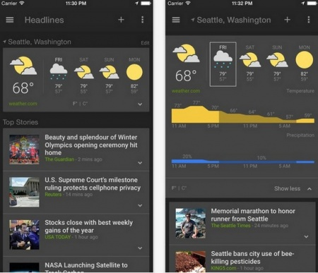 Google News & Weather на iOS